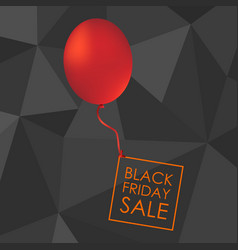 Red balloon on black polygonal background with vector