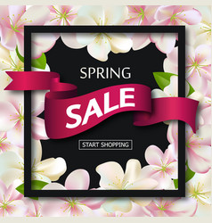 spring sale background with ribbon and flowers vector image vector image