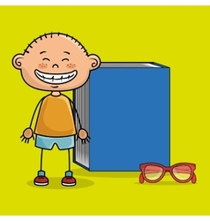 Student boy book glasses study vector