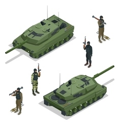 Tank american and soldiers flat 3d vector
