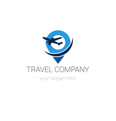 Travel company logo template isolated on white vector