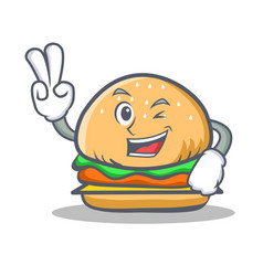 Two finger burger character fast food vector