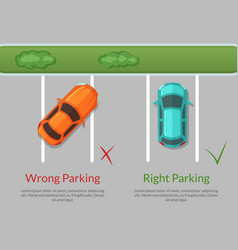 wrong and right parking cars on the parking vector image vector image