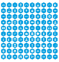100 adventure icons set blue vector image vector image