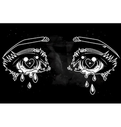Crying eyes in anime or manga style vector