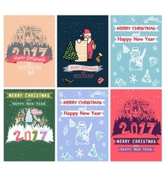 Collection of 6 christmas card templates posters vector