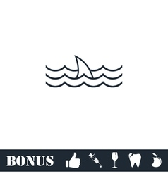 Shark fin icon flat vector