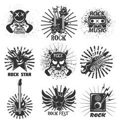rock band festival icons skull and guitar vector image