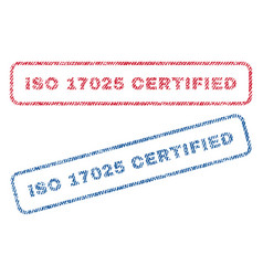 iso 17025 certified textile stamps vector image