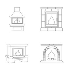 Fire warmth and comfort fireplace set collection vector