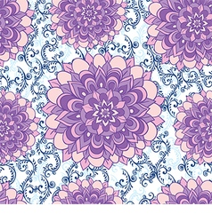 beautiful pattern with blue flowers and floral vector image