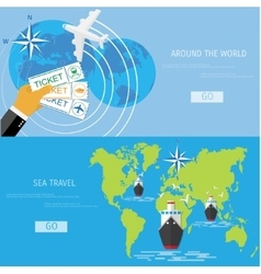 Flat concept of world travel and tourism vector