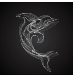 Dolphin silhouette on a black background vector