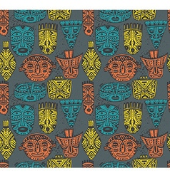 Seamless pattern with hand drawn fancy masks in vector