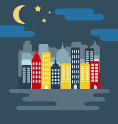 Cityscape with skyscarpers and half moon at night vector