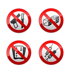 Set prohibited signs - gaming vector
