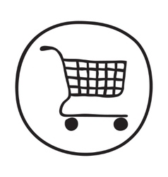 Doodle Shopping Cart icon vector image