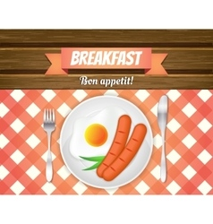 Breakfast table fried egg sausages on a plate vector
