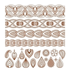 Henna seamless borders and paisley elements vector
