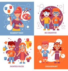 Children with painted faces concept icons set vector