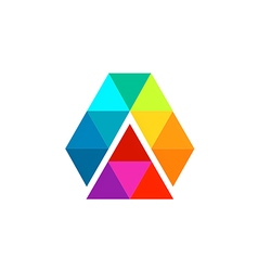 abstract triangle technology color prism logo vector image
