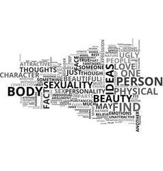Beauty as a sexual object text word cloud concept vector