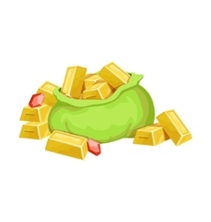 Big Sack With Golden Bars And Rubies Hidden vector image vector image