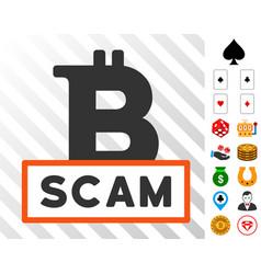 Bitcoin scam icon with bonus vector