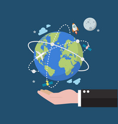 Businessman holding earth globe on space vector