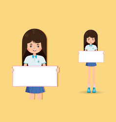 cute little girl student holding banner vector image