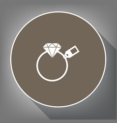 diamond sign with tag white icon on brown vector image