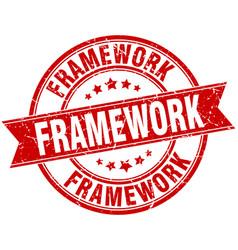 Framework round grunge ribbon stamp vector