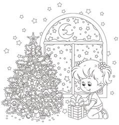 Girl and christmas gift vector