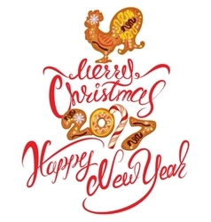 Hand written calligraphic text merry christmas and vector