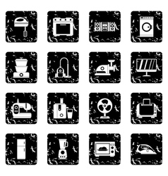 Household appliances set icons grunge style vector image