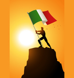 Man holding the flag of italy vector