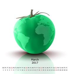March 2017 tomato calendar vector