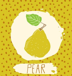 Pear hand drawn sketched fruit with leaf on vector image vector image