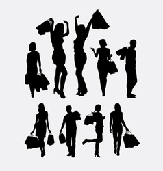 People male and female shopping silhouettes vector