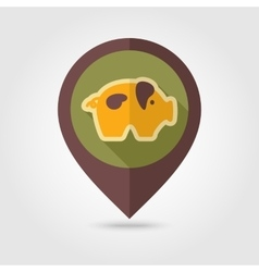 Pig flat mapping pin icon with long shadow vector image