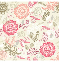 Seamless background with flower and bird vector