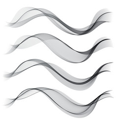 Set abstract color smoke wave transparent wave vector