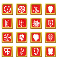 Shield frames icons set red vector