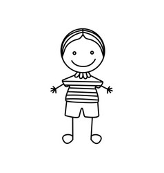 Silhouette hand drawing cute boy icon vector