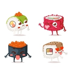 Sushi character isolated vector