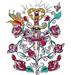 Tattoo rose design vector image