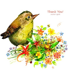 watercolor painting cute bird with flowers vector image vector image