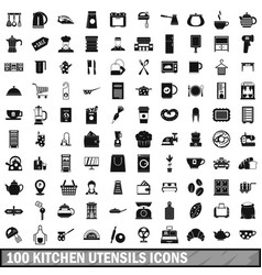 100 kitchen utensils icons set simple style vector