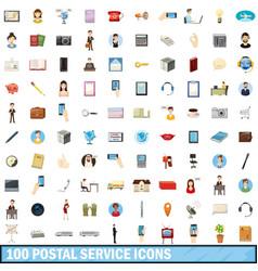 100 postal service icons set cartoon style vector