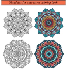 Mandalas for anti-stress coloring book 1 vector